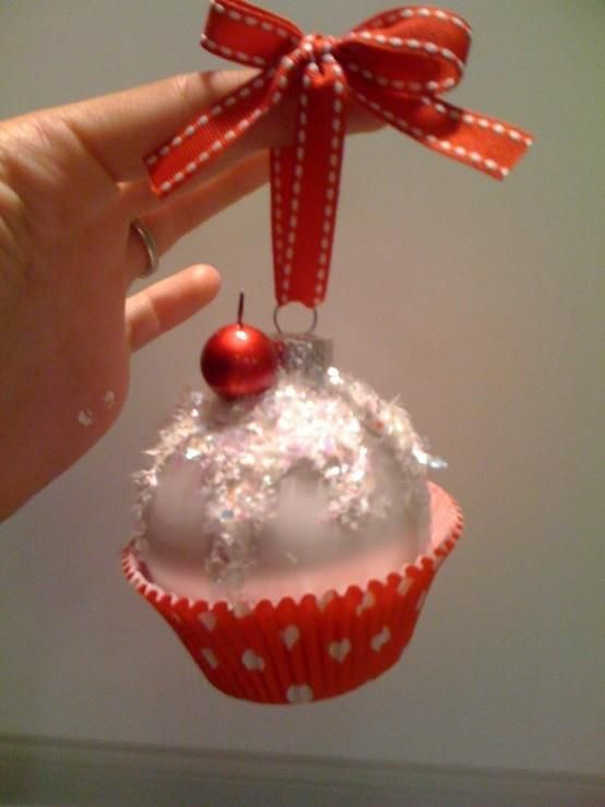 White ball ornament, glitter, cupcake paper, red ball, and ribbon!  My husband found over 100 christmas ornaments in someones trash NEVER used-still wrapped in the boxes... this is going on my tree and in the pay it forward to my neighbors treat bags for their doors!!!!