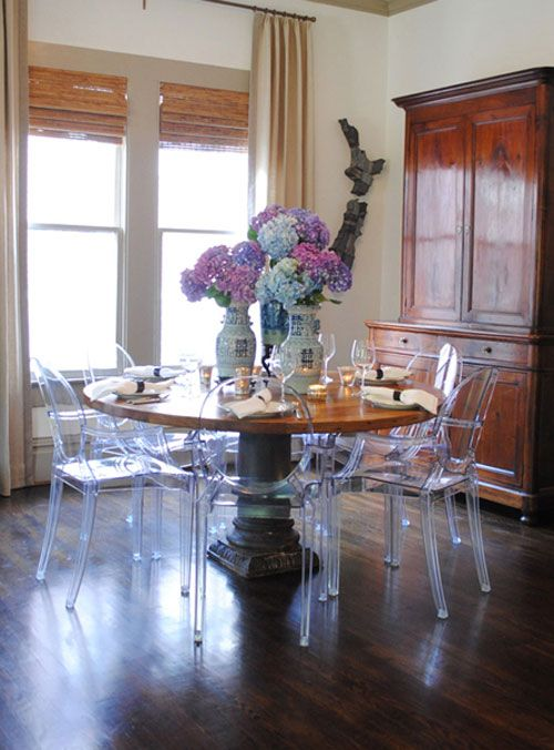 Lucite Chairs With Antique Pedestal Table And Side Cabinet. Meg Lonergan Of  LeSueur Interiors