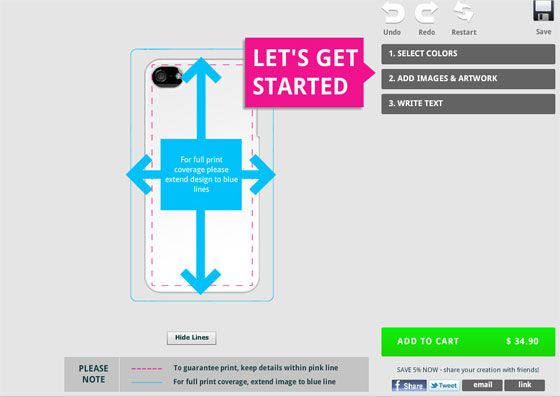 Lets your customers start the design by using #no-refresh online design software
