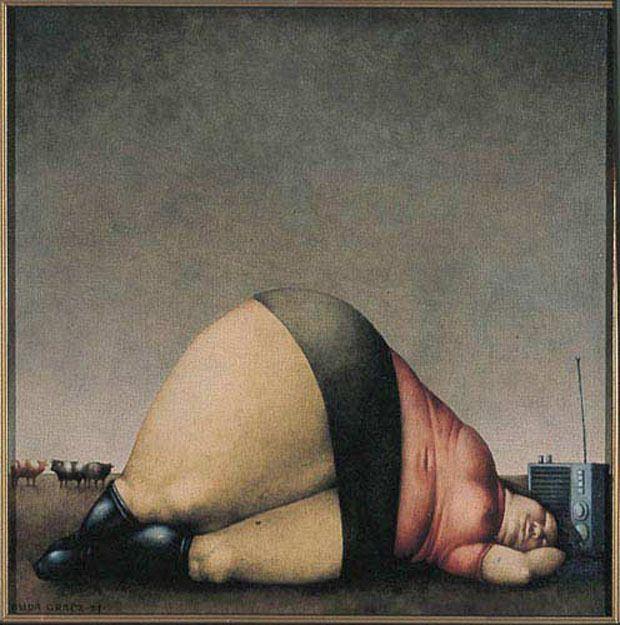 Jerzy Duda-Gracz /Polska/. Józefowi Chełmońskiemu, 1974, olej, płótno, 40x40