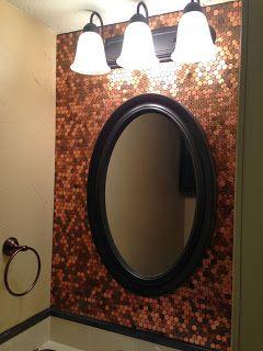 DIY Penny Bathroom Backsplash | Bluffit