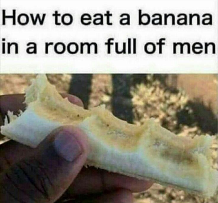 Eating a banana in a room full of men
