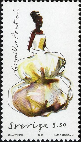 Swedish Post Office Stamp featuring illustration of Stina Wirsen. Released 2007.