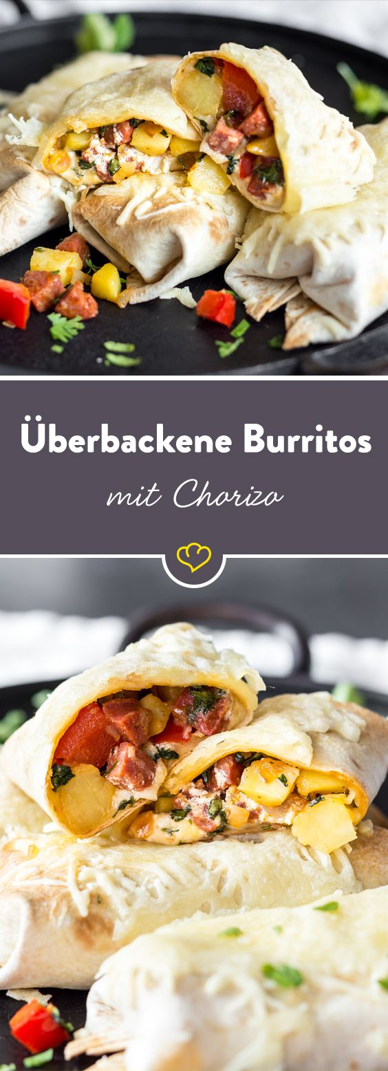 Burrito-Genuss-Tunig: Die Tex-Mex-Rolle einfach im Ofen überbacken. Chorizo-Füllung eingerollt in weicher Tortilla - da schmilzt nicht nur der Käse dahin.