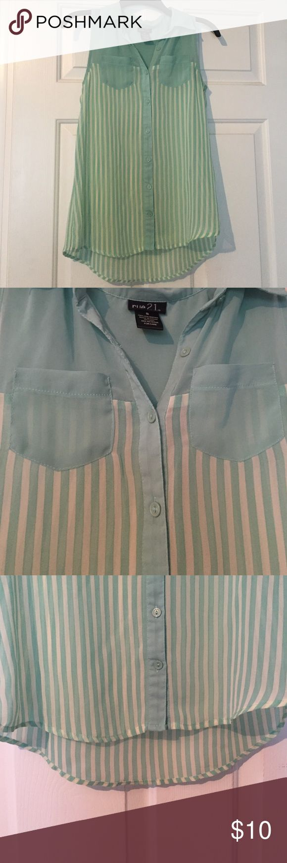 Beautiful Loose, Striped Vest A wonderful teal and cream striped vest with a Peter Pan collar and button down front. Rue 21 Tops