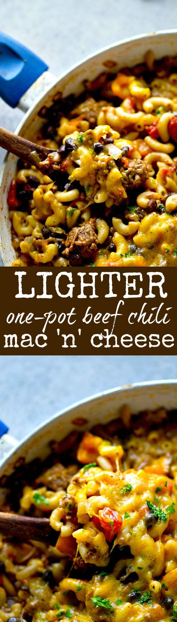 Made entirely in ONE pot and lighter on the calories, this hearty beef chili mac 'n' cheese is going to quickly become the most-requested dinner in your house!