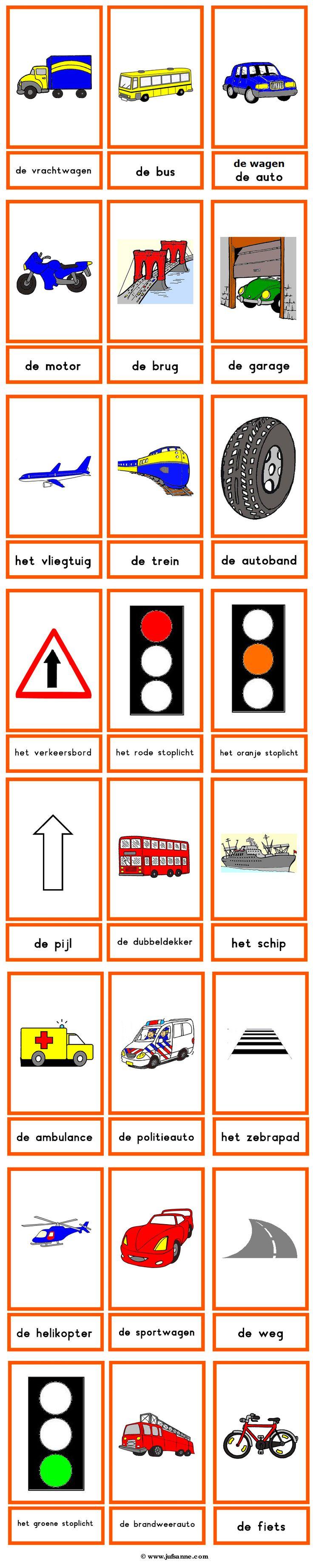 Woordkaarten : verkeer en vervoermiddelen