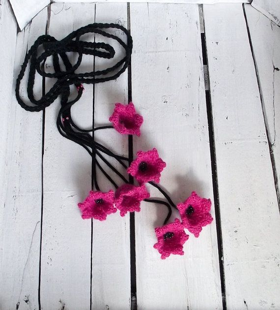 Dark Pink Lilies Crochet Necklace Lariat Beadwork by ReddApple, $29.00