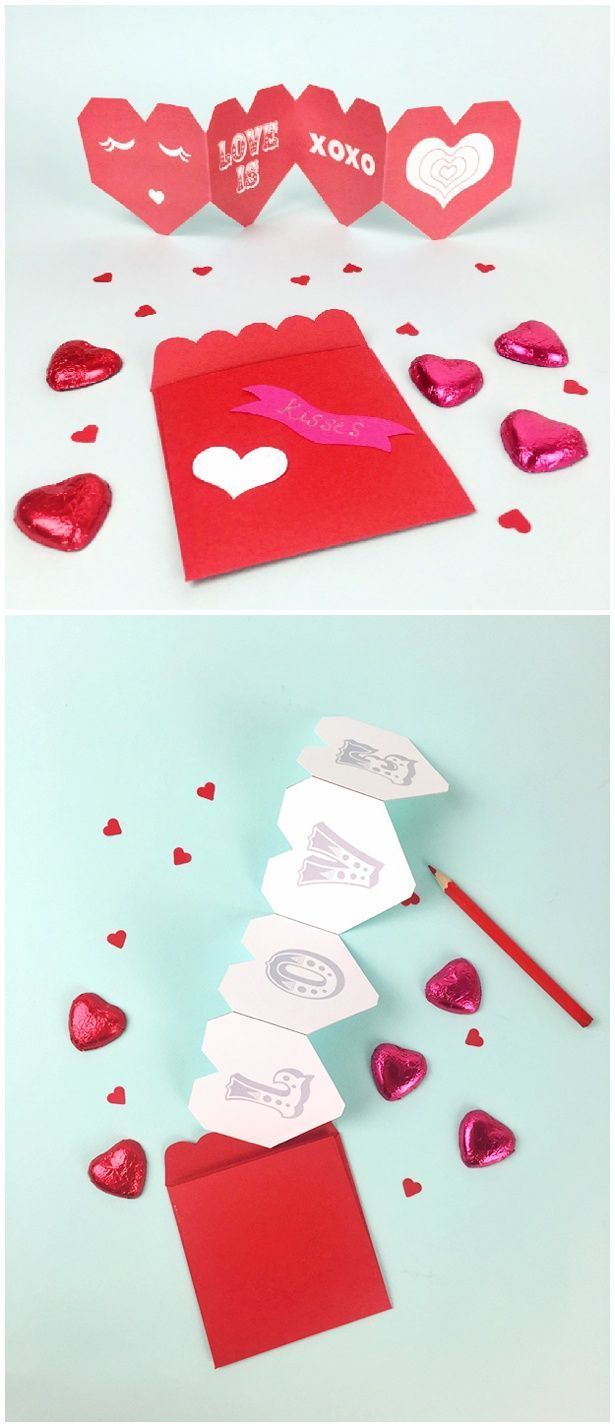 Valentine Accordion Card, Envelope and Heart Favors. All in one free printable. Option to print blank ones for kids to make Valentine cards!