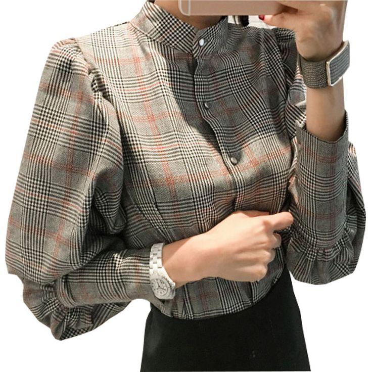 Chemise Femme Gray Plaid Shirt Women Clothes 2017 Casual Bow Woman Shirts Blouse With Long Lantern Sleeve Blouses Ladies Tops