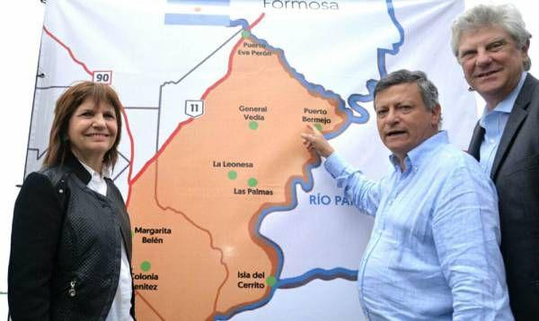 Bullrich, junto al gobernador Peppo, anunció el lanzamiento del Operativo Río Paraguay y el cierre del Paso Fronterizo de Puerto Bermejo
