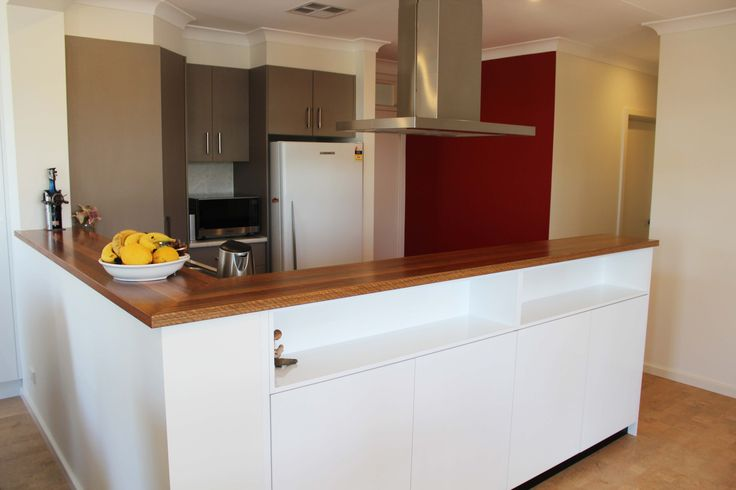 """Benchtop - Spotted Gum Solid Timber Panels - Formica """"Snowdrift Gloss"""" Overheads - Laminex """"Stipple Seal Natural Finish"""""""