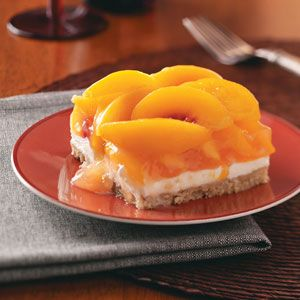 Peaches & Cream Dessert - Perfect for parties and potlucks, this sweet and creamy treat will earn you rave reviews from all. The pecan shortbread crust makes it irresistible.