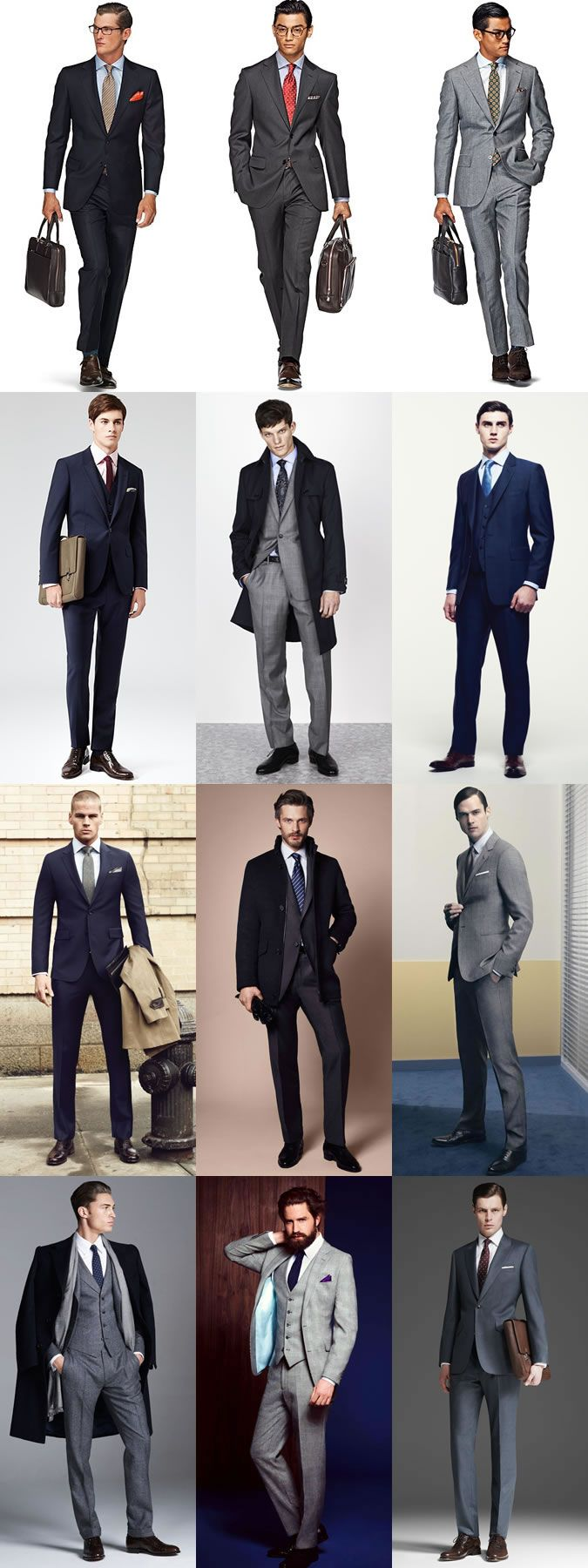"""Look for slim-fit or tailored-fit cuts to cast a sleeker, contemporary silhouette around the office."" #men's #business #fashion"