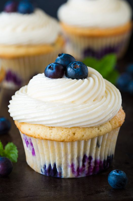 Blueberry Cupcakes with Cream Cheese Frosting - these are one of my new favorite cupcakes! So so good!!