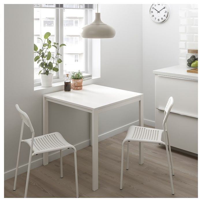 Melltorp Adde Table And 2 Chairs White 29 1 2 Dining Room