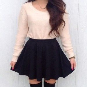 Black skater skirt, Light pink sweater, Knee high black socks