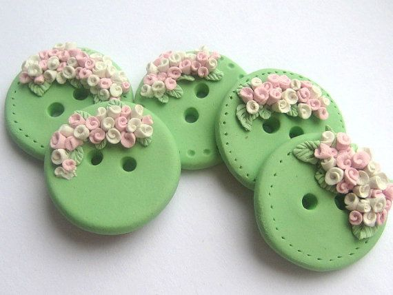 Cascading blossoms polymer clay buttons Spring green, pastel pink, white