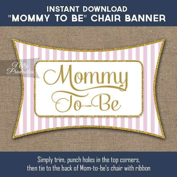 Baby Shower Chair Banner  Pink Gold Baby Shower by NiftyPrintables
