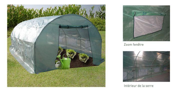 Serre de jardin tunnel GALINA 12 m² - hauteur 2 mètres - Zoom