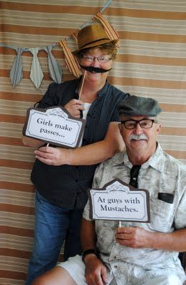 Mustache sayings for photo booth - I googled and made mustache-related sayings into signs! Girls make passes and guys with mustaches.