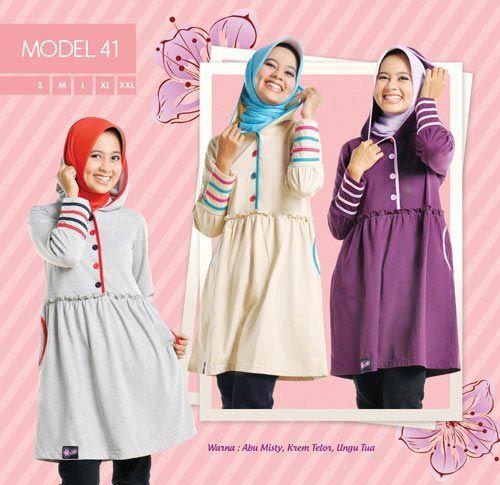 #Blus dengan #hoodie hadir dengan 3 warna, cocok untuk remaja yang aktif  syar'i