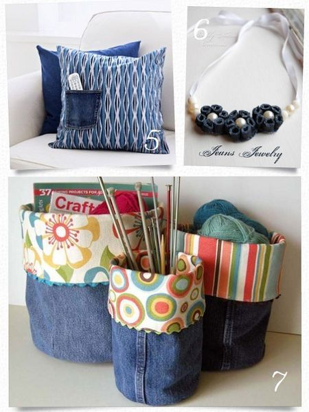 10 easy projects for old jeans -- Especially love the placemat one! I have tons of Devon's old jeans because he always wears the knees out. Maybe make some Christmas presents for next year?