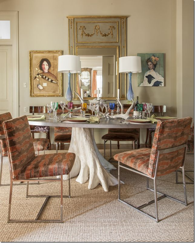 Trunk table, chrome dining chairs upholstered in Kelly Wearstler's Sora velvet. Love the the peach & taupe color combo.
