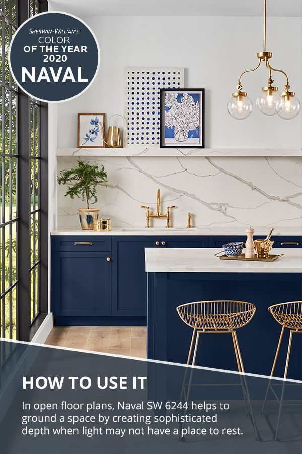We Re Cooking Up A Fresh Take On Kitchen Cabinet Color Thanks To The Sherwin Williams 2 Blue Kitchen Cabinets Kitchen Cabinet Colors Navy Blue Kitchen Cabinets