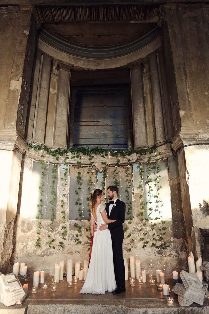 Candle Light Altar | Charlie Brear Wedding Dress | Autumn Wedding | The Asylum London | East Dulwich Tavern | Blush Bridesmaid Separates | Haywood Jones Photography | http://www.rockmywedding.co.uk/cat-ali/