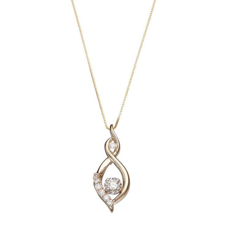"10k Gold 1/4 Carat T.W. Diamond Infinity Pendant Necklace, Women's, Size: 18"", White"