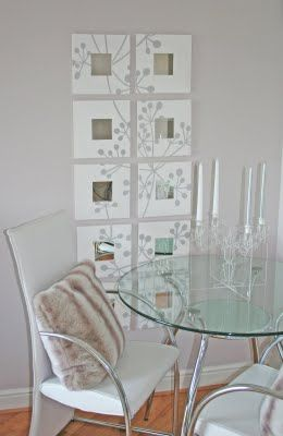 Another photo of the diy with Ikea Malma mirrors and some silver and white paint...beautiful!!