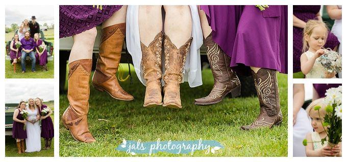 cowboy boots, broach bouquet
