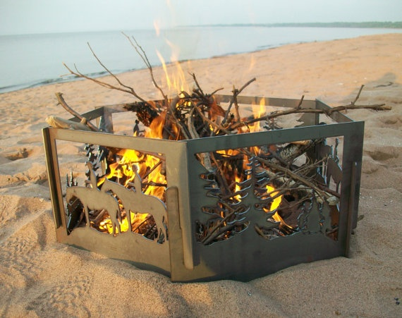 Slide apart fire pit for travel!  Good idea!!