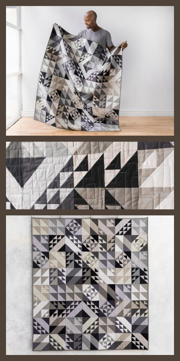 Quilt Kit – Sew the Modern Technology Solids quilt in neutral shades. This modern, triangle quilt design comes in a kit, complete with quilt pattern a…