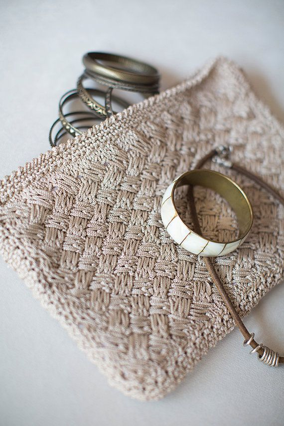 Crochet Clutch, Crochet Handbag, Crochet Bag, Crochet Purse, Beige Handbag