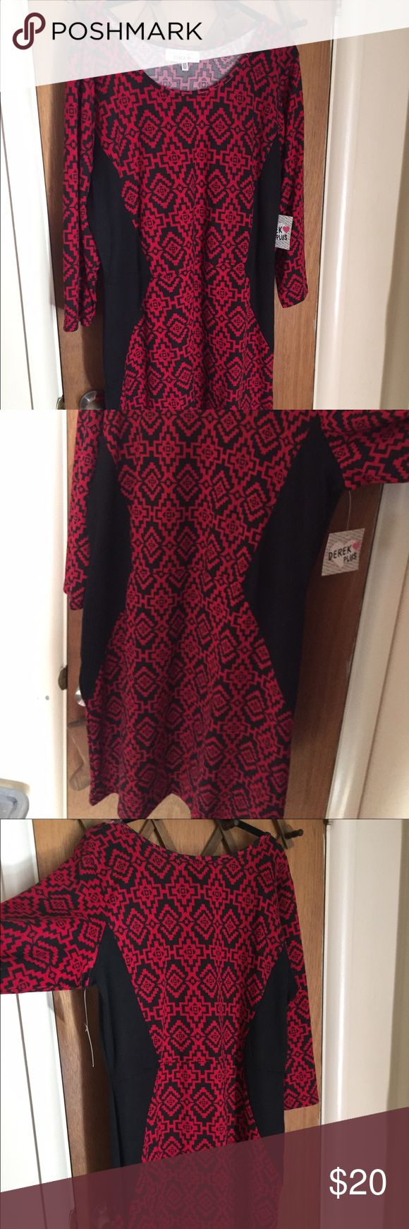Red and Black Bodycon Dress Brand new red and black patterned bodycon dress. Slimming black accents down both sides. Comes to just above the knees. Derek Heart Dresses Midi