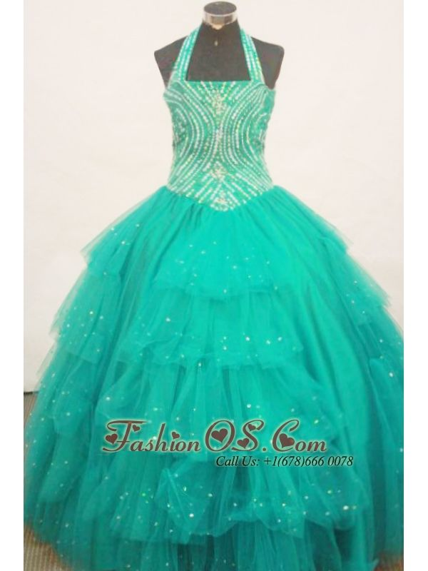 Beaded Decorate Bust Turquoise Little Girl Pageant Dress Halter Top With Ruffled Layeres- $183.49  www.fashionos.com