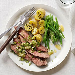 Miso Steak with Green Beans and Baby Potatoes - 15 minute meals