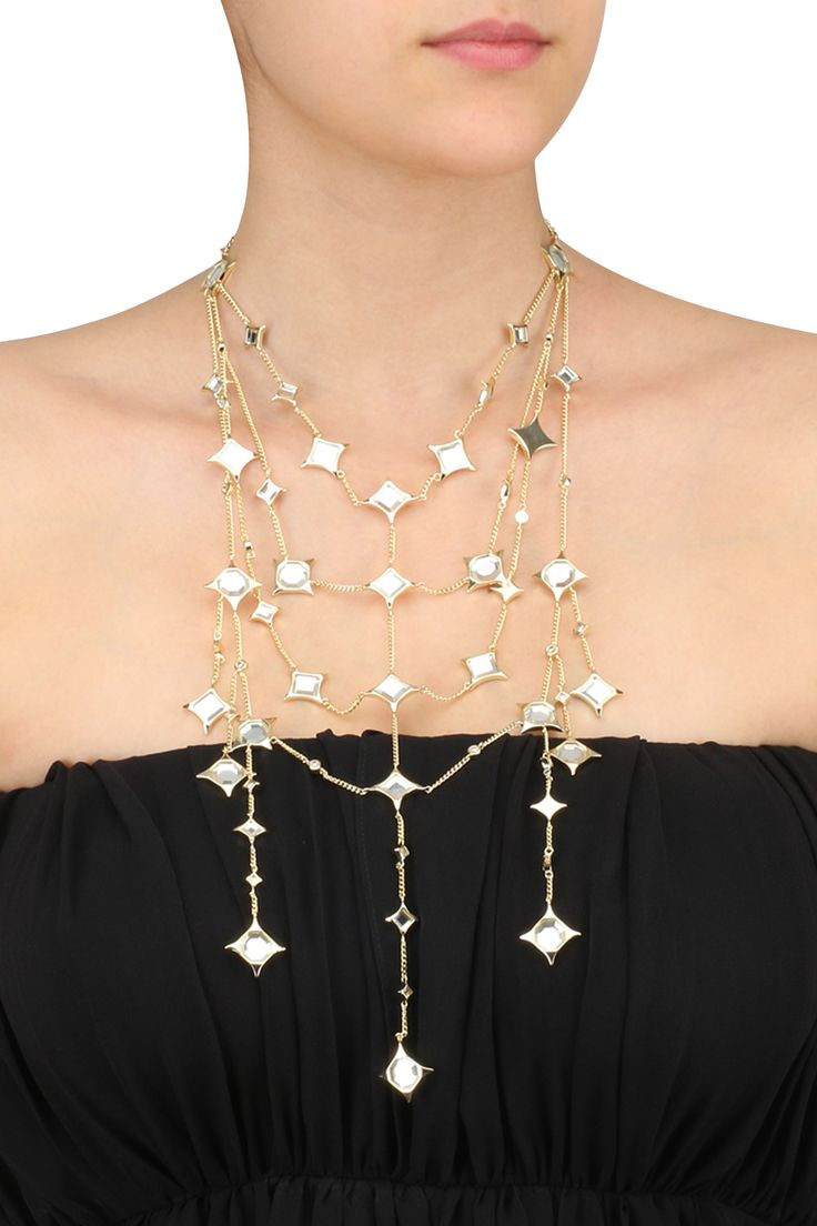 Isharya presents Gold plated Celeste Mirror Statement Necklace available only at Pernia's Pop Up Shop.