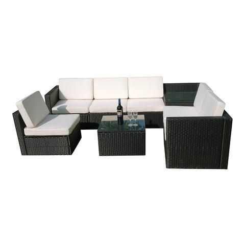 MCombo 8pc Black Wicker Patio Sectional Sofa Furniture Set White (Wicker  Black, Cushion