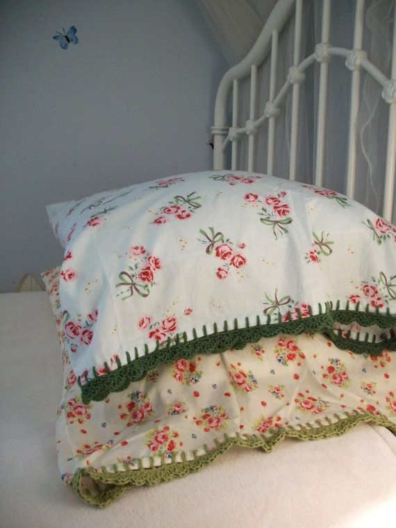 Pillowcase With Crochet Trim - Pink Rose and Green by Downy&Floral
