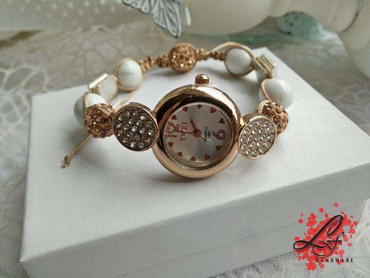 Ladies watch, women watch, fashion watch, wrist watch, beaded watch, fancy watch, gift for her, bracelet watch,  white howlite and by LusyFashionJewelry on Etsy