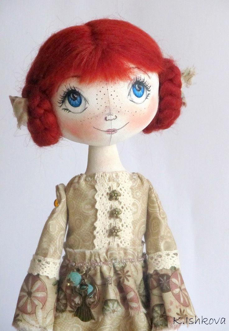 "Textile Cloth Art doll ""Zoui"" fairy.red OOAK. $115.00, via Etsy."