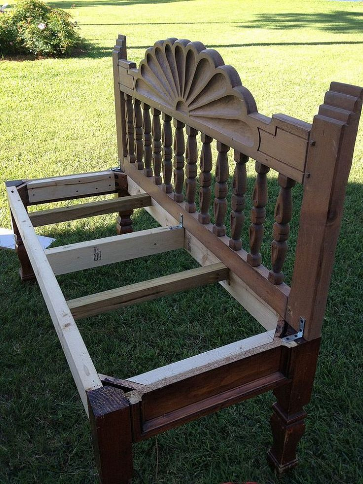 How To Make A Bench From An End Table And Headboard