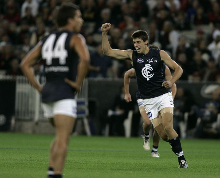 Kreuz celebrating his first goal in the AFL on debut during the 2008 Round 3 match against the Bombers at the MCG.