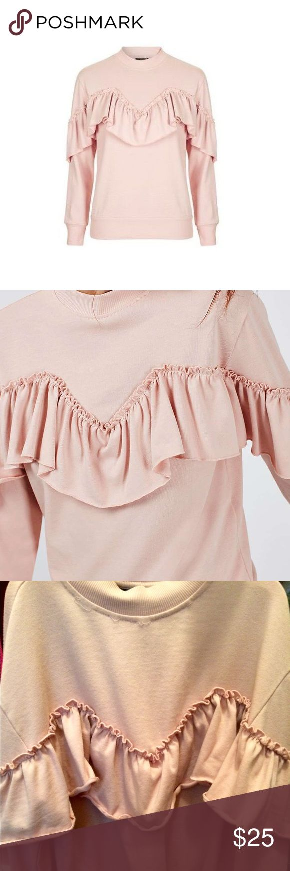 never worn ruffle topshop sweater bought with a bit of unthreading at the collar.  super adorable in a light dusty pink.  never worn out and only tried on. Topshop PETITE Sweaters
