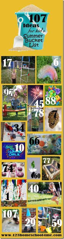 107 Must do ideas for kids summer bucket lists
