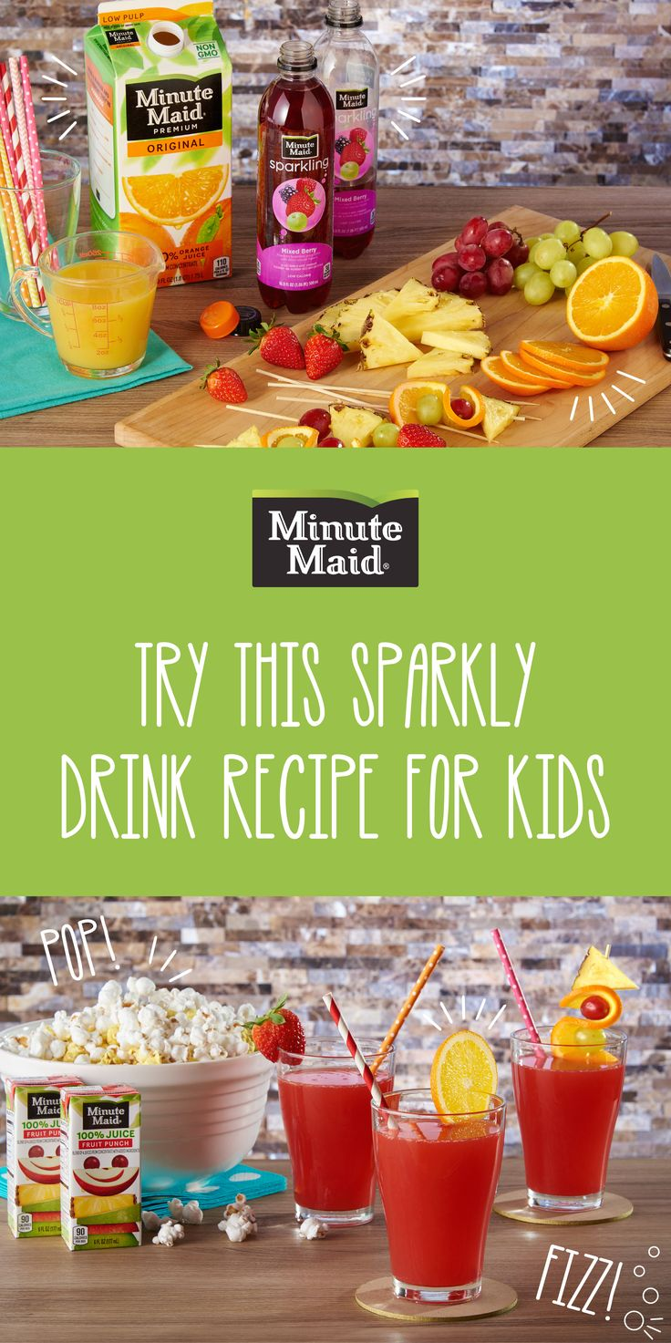 This Minute Maid spritzer is full of the delicious goodness you know and trust from your favorite juice brand. Quick and simple to make, kids and adults will be saying 'Cheers!'