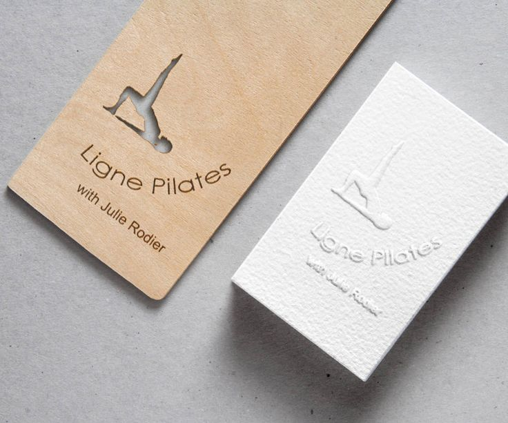 Pilates Teacher Logo Design [Sample] Wooden Cutout and White Embossed Business Crads Mockup